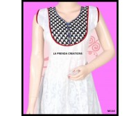 EYE CATCHING WHITE KURTI WITH BLACK AND RED YOKE W114