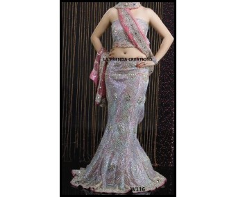 BRIDAL WHITE -PINK FISH CUT LEHENGA W116