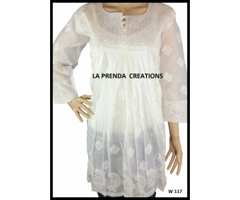 EYE PLEASING WHITE LUCKNAWI CHIKAN KURTI W117