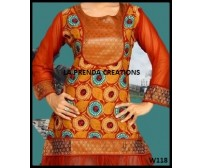 ORANGE SATIN KURTI WITH GOLDEN BORDER  W118