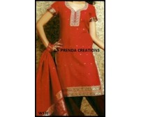 PARTY WEAR RED- BLACK SALWAR KAMIZ WITH GOLDEN BORDER W120