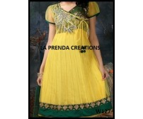 YELLOW-GREEN COLOR DESIGNER FROCK SUIT W127