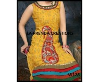 YELLOW-GREEN COLOR DESIGNER FROCK SUIT W128
