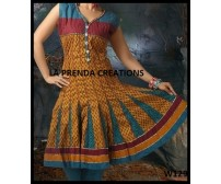YELLOW-BLUE COLOR DESIGNER FROCK SUIT  W129