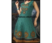 GREEN-YELLOW COLOR DESIGNER FROCK SUIT  W130