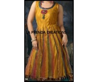 YELLOW-GREEN COLOR DESIGNER FROCK SUIT W131