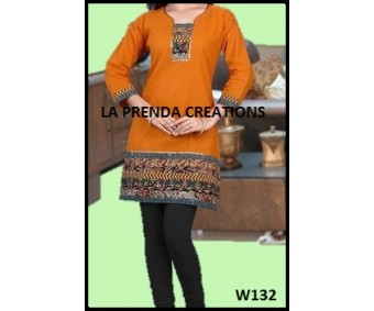 YELLOW AND BLACK COLOR KURTI  W132