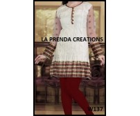 WHITE KURTI WITH RED-GOLDEN BORDER W137