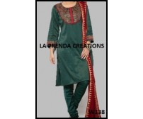 GREEN SILK SALWAR KAMEEZ WITH RED-GOLDEN YOKE  W138