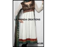 WHITE DESIGNER ANARKALI SUIT  W139
