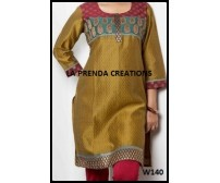 SATIN KURTI WITH  GREEN-GOLDEN BORDER W140