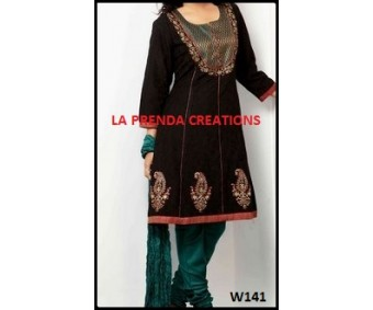 BLACK DESIGNER KURTI WITH EMBRIODERY W141