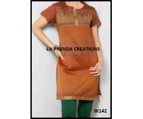 ORANGE KURTI WITH GOLDEN BORDER W142