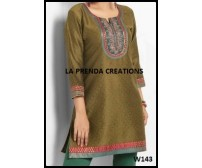 GREEN SATIN KURTI WITH EMBRIODERY W143