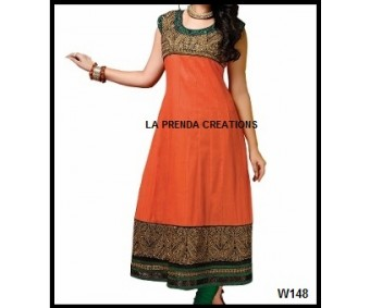ORANGE DESIGNER SUIT WITH EMBROIDERY BORDER  W148