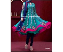 GREEN  DESIGNER ANARKALI  SUIT  W149