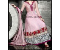 PINK DESIGNER SUIT BROAD BORDER  W151